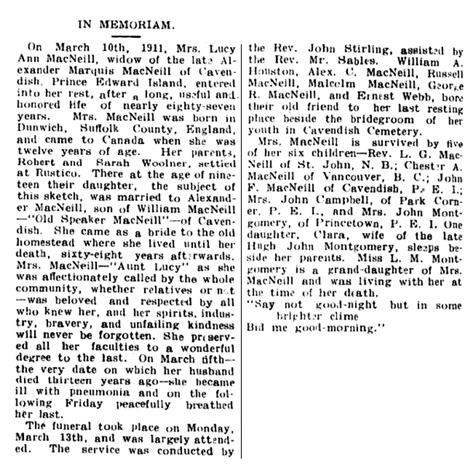 In Memoriam, Lucy Ann MacNeill, Charlottetown Guardian, March 29, 1911, page 4; http://islandnewspapers.ca/islandora/object/guardian%3A19110329-004.