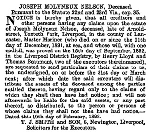 London Gazette, February 14, 1893, issue 26372, page 841, https://www.thegazette.co.uk/London/issue/26372/page/841. [The same notice appeared in The Times, (London), February 18, 1893, page 2, Legal Notices, column 5 (near bottom of page).]