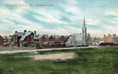 Kilgrimol School, Clifton Drive, St.Annes, viewed from a sand dune in the Bromley Road area c1905; http://www.amounderness.co.uk/kilgrimol_school_for_boys.html.