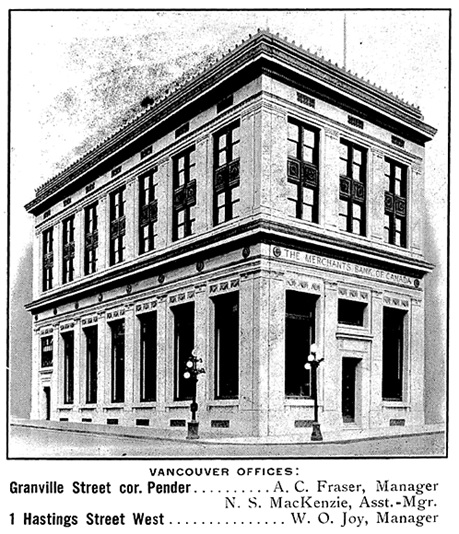 Merchants Bank of Canada, advertisement (excerpts), Henderson's Greater Vancouver City Directory, 1919, page 8.