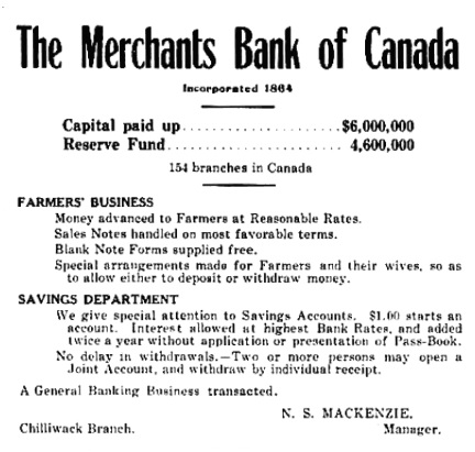 Chilliwack Progress, December 7, 1910, page 7; http://theprogress.newspapers.com/image/43188720/?terms=n%2Bs%2Bmackenzie