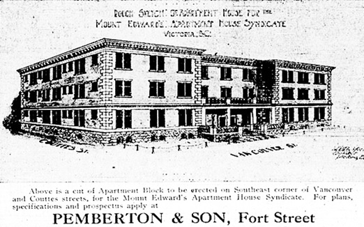 Mount Edwards Apartment House, Victoria Daily Colonist, August 11, 1910, page 9; http://archive.org/stream/dailycolonist53212uvic#page/n8/mode/1up.