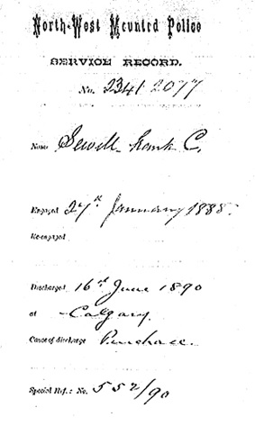 North West Mounted Police (NWMP) - Personnel Records, 1873-1904; Frank C. Sewell; http://www.collectionscanada.gc.ca/obj/025003/f1/sf-02077.0001-v7.jpg;pv90497853d260ae98.
