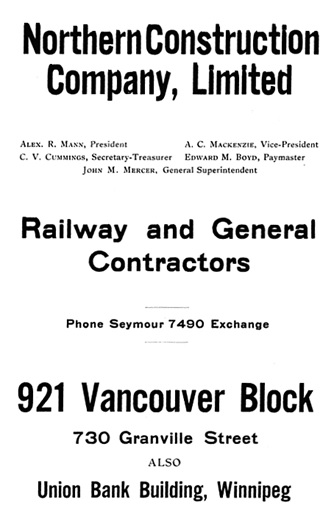 Northern Construction Company, advertisement, Henderson's Greater Vancouver City Directory, 1917, page 58.