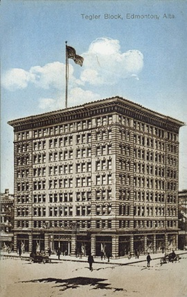 Tegler Block, showing original structure before its expansion in 1913. http://archiseek.com/2012/1911-tegler-block-edmonton-alberta/