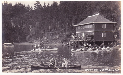 """The Free"" Bathing House, Gorge Park, Victoria, BC, c.1920; ""Gorge Pk. Victoria, B.C.""; https://www.flickr.com/photos/45379817@N08/19136511455"