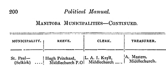 A Political Manual of the Province of Manitoba and the North-West Territories; by John Palmerston Robertson; Winnipeg, Call Printing Company, 1887, page 200 [cropped and edited image]; https://books.google.ca/books?id=hVUvAAAAYAAJ&pg=PA200&lpg=PA200&dq=st+paul+manitoba+kayll&source=bl&ots=E1aIZK0W14&sig=O0kcde9jg3OBGck4_nngDSSjRy0&hl=en&sa=X&ved=0ahUKEwjgmszo76TJAhUH6GMKHQKeCOMQ6AEINTAF#v=onepage&q&f=false.