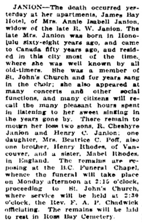 Victoria Daily Colonist, November 13, 1920, page 7, column 5, http://archive.org/stream/dailycolonist62y284uvic#page/n6/mode/1up.
