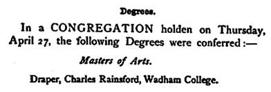 Oxford University Gazette, Volume 12, by University of Oxford, page 378; (selected portions); https://books.google.ca/books?id=mtZHAQAAMAAJ&pg=PA378&lpg=PA378&dq=%22draper,+charles+rainsford%22&source=bl&ots=iJHXHwGsSW&sig=rfm4keZED6qXjA55tS93yi38_yk&hl=en&sa=X&ved=0CCMQ6AEwA2oVChMIqcyq_Pj6yAIVUyuICh3Z5g7w#v=onepage&q=%22draper%2C%20charles%20rainsford%22&f=false