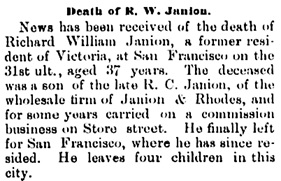 Victoria Daily Colonist, January 9, 1889, page 4, column 2; http://archive.org/stream/dailycolonist18890109uvic/18890109#page/n3/mode/1up