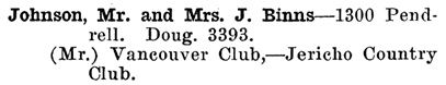 Greater Vancouver Social and Club Register, 1927, page 38.
