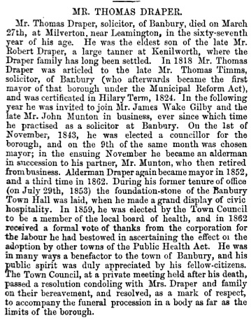 The Solicitors' Journal & Reporter, Volume 13, April 10, 1869, page 463; https://books.google.ca/books?id=6Ak5AQAAMAAJ&pg=PA463&lpg=PA463&dq=thomas+draper+mayor+banbury&source=bl&ots=NhzURgI1ND&sig=-95CFVh_bQbijQKQ0WrXHUtY6es&hl=en&sa=X&ved=0CDAQ6AEwBWoVChMIgP3x2oX7yAIVSZSICh25bAQa#v=onepage&q&f=false