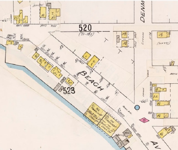 1800 Block Beach Avenue - Insurance plan - City of Vancouver, July 1897, revised June 1903 - Sheet 45 - Comox Street to English Bay and Bidwell Street to Stanley Park