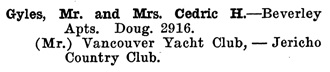 Greater Vancouver Social and Club Register, 1927, page 31.