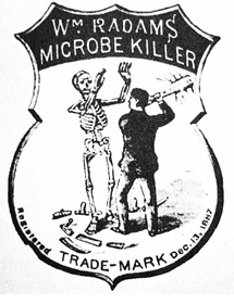 """Trademark for the Microbe Killer. Note the broken scythe lying at the skeleton's feet,"" http://www.ntskeptics.org/2004/2004january/january2004.htm"