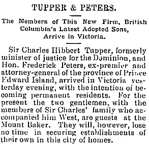 Victoria Daily Colonist, November 11, 1897, page 5, column 4; http://archive.org/stream/dailycolonist18971111uvic/18971111#page/n3/mode/1up/search/tupper