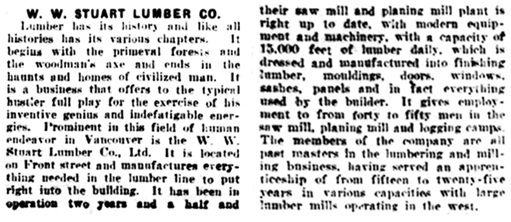W W Stuart Lumber Co - 1 - Vancouver Daily World - September 12 1908 - page 13
