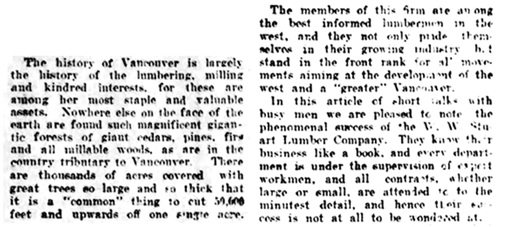 W W Stuart Lumber Co - 2 - Vancouver Daily World - September 12 1908 - page 13