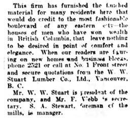 W W Stuart Lumber Co - 3 - Vancouver Daily World - September 12 1908 - page 13