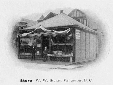 """Store - W.W. Stuart, Vancouver, BC."", British Columbia Archives, Item E-00502; http://search-bcarchives.royalbcmuseum.bc.ca/store-w-w-stuart-vancouver-bc. (The house at the left rear of the photograph above may be 1960 Georgia Street, which was similar to the house at 1954 Georgia Street, below.)"