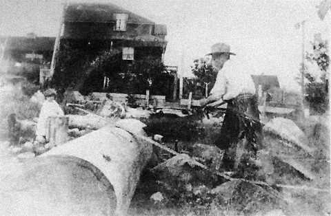 Alexander Biggart Sayer Smith building the family home on the south side of Beach Avenue at the foot of Guilford [sic: Gilford] Street; Vancouver City Archives; CVA 1376-515; http://searcharchives.vancouver.ca/alexander-biggart-sayer-smith-building-family-home-on-south-side-of-beach-avenue-at-foot-of-guilford-street.