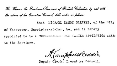 Appointment of Michael Mahon Greaves as notary public; British Columbia Order in Council 1263/1914, November 21, 1914, [detail]; http://bclaws.ca/civix/document/id/oic/arc_oic/1263_1914.