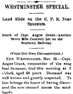 """Death of Capt. Angus Grant,"" Victoria Daily Colonist, November 20, 1889, page 1, column 7; http://archive.org/stream/dailycolonist18891120uvic/18891120#page/n0/mode/1up."