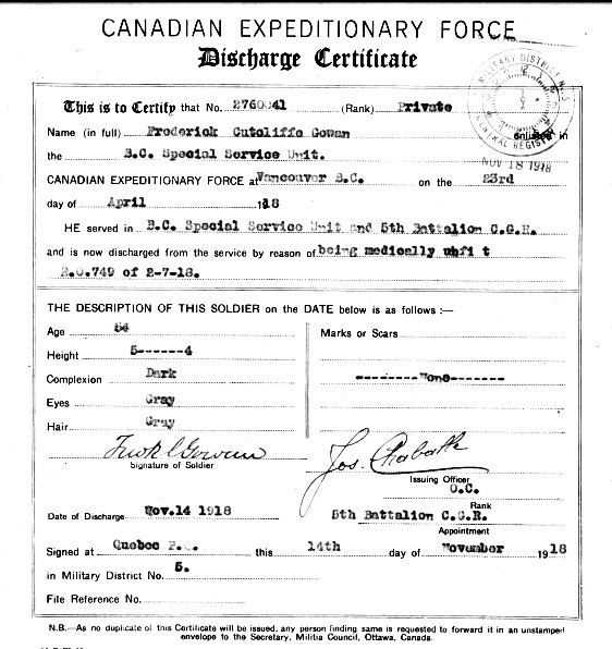 Certificate of Discharge, Frederick Cutcliffe Gowan, April 22, 1918; http://central.bac-lac.gc.ca/.item/?op=pdf&app=CEF&id=B3686-S017.
