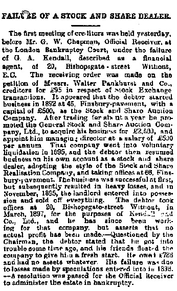 """Failure of a Stock and Share Dealer,"" The Financial Times (London, England), Wednesday, February 20, 1901; pg. 2; Edition 3,988."