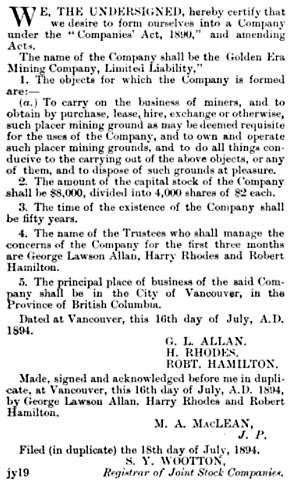 British Columbia Gazette, August 2, 1894, page 707; https://books.google.ca/books?id=1Zw-AQAAMAAJ&pg=PA707&dq=%22british+columbia+gazette%22+1894+%22rhodes%22+707&hl=en&sa=X&ved=0ahUKEwj-363nqYXLAhVY62MKHcy2DjUQ6AEIGzAA#v=onepage&q=%22british%20columbia%20gazette%22%201894%20%22rhodes%22%20707&f=false