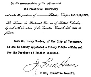 Harry Rhodes – appointment as British Columbia notary public, British Columbia Order in Council 624/1898, December 14, 1898, http://www.bclaws.ca/civix/document/id/oic/arc_oic/0624_1898.