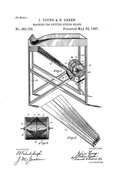 """Be it known that we, Joshua Young and Nelson Green, both manufacturers, and both of the village of Waterford, in the county of Norfolk, in the Province of Ontario, Canada, have jointly invented certain new and useful Improvements in Machines for Cutting String or Green Beans, of which the following is a specification."" J. Young & N. Green. Machine For Cutting String Beans. No. 363,785. Patented May 24, 1887; http://www.google.com/patents/US363785."