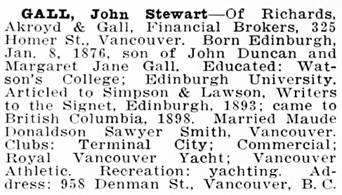 Northern Who's Who; a Biographical Dictionary of Men and Women, Volume 1, C.W. Parker, editor; Vancouver, Western Press Association, 1916, page 266; https://archive.org/stream/northernwhoswhob01park#page/266/mode/1up.