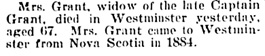 Mrs. Grant, death notice, Victoria Daily Colonist, March 10, 1899, page 2; http://archive.org/stream/dailycolonist18990310uvic/18990310#page/n1/mode/1up.