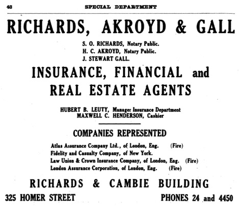 Henderson's City of Vancouver and North Vancouver Directory, 1909, page 48