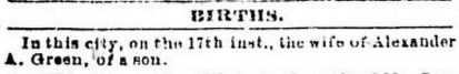 Birth announcement, Victoria Daily British Colonist, February 19, 1875, page 3; http://archive.org/stream/dailycolonist18750219uvic/18750219#page/n2/mode/1up.