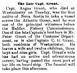 """The Late Capt. Grant,"" Victoria Daily Colonist, November 21, 1889, page 4, column 3; http://archive.org/stream/dailycolonist18891121uvic/18891121#page/n3/mode/1up."