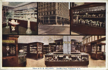 View of O. B. Allan's Jewellery Store, Vancouver, B.C.; Image MSC130-5847-01 courtesy of the British Columbia Postcards Collection, a digital initiative of Simon Fraser University Library; http://content.lib.sfu.ca/cdm/ref/collection/bcp/id/17455.