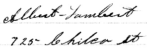 Albert Lambert, signature and address, birth registration of Ethel Florence Lambert, August 21, 1903; Registration Number: 1903-09-123293.