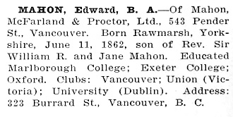 Northern Who's Who: A Biographical Dictionary of Men and Women, Volume 1; edited by Dr. C.W. Parker; Vancouver, Western Press Association, 1916, page 492; https://archive.org/stream/northernwhoswhob01park#page/492/mode/1up