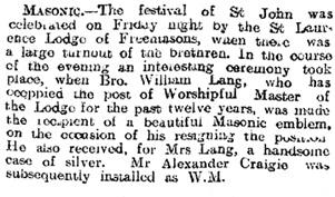 Laurencekirk, Aberdeen Daily Journal (Aberdeen, Scotland), Issue 18083, December 23, 1912; page 9.