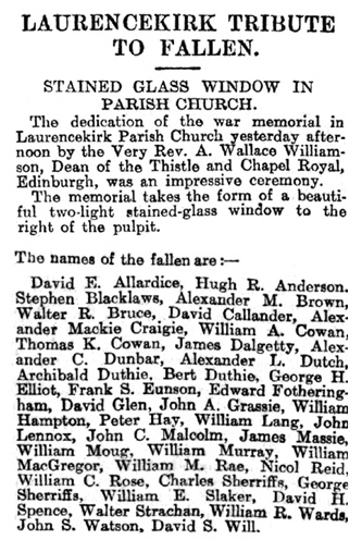"""Laurencekirk Tribute to Fallen,"" The Courier and Argus (Dundee, Scotland), ; Issue 21517, Thursday, May 18, 1922; page 4 [selected portions image]."