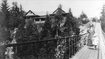 Mrs. Buswell and daughter on the Capilano Suspension Bridge, May 24, 1910, Vancouver City Archives, Out P941; http://searcharchives.vancouver.ca/mrs-buswell-and-daughter-on-capilano-suspension-bridge.