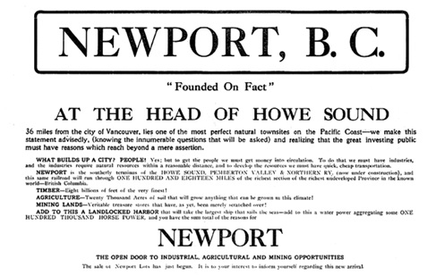 Newport, B.C., advertisement [detail], by British American Trust Company, Victoria Daily Colonist, October 10, 1909, page 16; http://archive.org/stream/dailycolonist19091010uvic/19091010#page/n15/mode/1up.