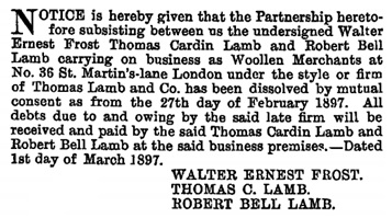 The London Gazette, March 5, 1897, page 1350; https://www.thegazette.co.uk/London/issue/26829/page/1350/data.pdf
