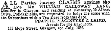 Advertisements & Notices, Glasgow Herald (Glasgow, Scotland), Issue 161, July 6, 1896, page 1.