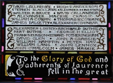 Laurencekirk Parish Kirk, High Street (A937), Laurencekirk AB30 1AE, Scotland; https://www.warmemorialsonline.org.uk/node/145731.