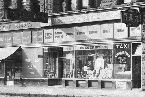 Cunningham Drugs, 1920s, Williams Building, Hastings and Granville St., Vancouver B.C. [detail], Vancouver City Archives; CVA 1399-390; http://searcharchives.vancouver.ca/uploads/r/null/1/0/1031879/a01455e3-4e89-48a4-ac8a-dcf54d0aba5e-A38704.jpg