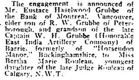 Social Events, Toronto Globe, November 25, 1903, page 5