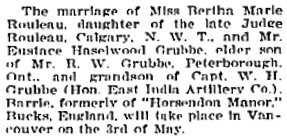 """Wedding Bells,"" Victoria Daily Colonist, April 25, 1905, page 5, column 6; http://archive.org/stream/dailycolonist19050425uvic/19050425#page/n4/mode/1up"